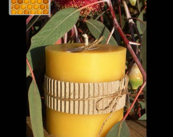 Pure Beeswax Candle - Short Pillar - homemade using pure, natural beeswax