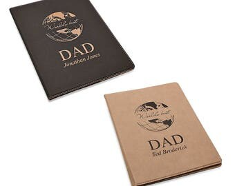 Leatherette Padfolio Notebook with World's Best Dad Design - Personalized Business Organizer Journal for Dad - Engraved Personalized Notepad
