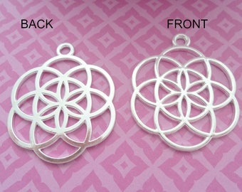 35 mm Silver Plate Flower of Life Pendant, Pack of 3 (2182)