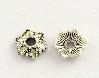 100 Antique Silver Flower Bead Caps 7mm (B253b)