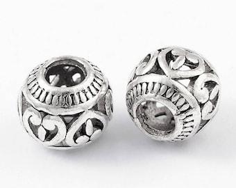 10 Euro Style Charm Beads Antique Silver (B465e)