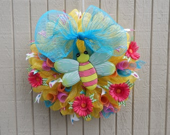 Summer Wreath, Summer Mesh Wreath, Mesh Wreath, Spring Wreath, Summer Wreath, Happy Spring, Happy Summer
