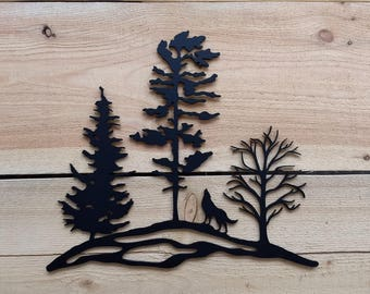 Metal Tree Art, Wolf, Wall Art, Decoration, Rustic, Silhouette, Tree, Multiple, Rock