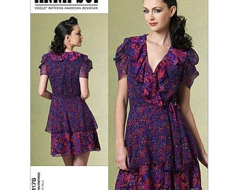 Vogue V1178 Size 6-8-10-12 or 14-26-18-20  Misses Anna Sui Wrap Dress Sewing Pattern / UNCUT FF