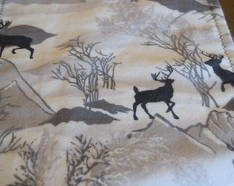 Deer Baby Blanket Hunting Crib Bedding Black and White Mountains Nursery Boy Country Party Woods Forest Woodland Birthday Reversible