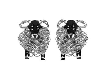 Silver Swaledale sheep stud earrings, Sheep earrings, Swaledale sheep, Yorkshire sheep, Sheep jewellery, Sheep present, Sheep gift, Sheep
