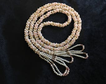 Vintage Faux Pearl Flapper Necklace Multicolor Braided Strand with Tassels