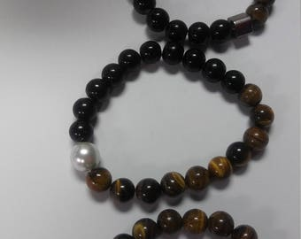 C & C Black Agate and Tiger Eye Bracelets