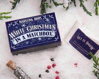 White Christmas In A Matchbox - Expanding Snow - Christmas Gift For Children - Stocking Filler - Secret Santa - Build A Snowman