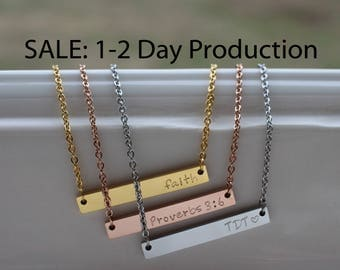 Mothers Day Gift - Personalized Bar Necklace - Bar Necklace - Best Friend Gift - Rose Gold Necklace - Personalized Necklace - Name Bar