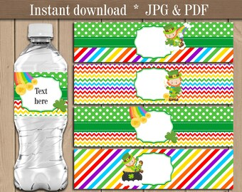 St Patrick's Day Water bottle labels.  Leprechaun Water bottle wrappers.  Saint Patrick Day Birthday Party decor printable. Instant download