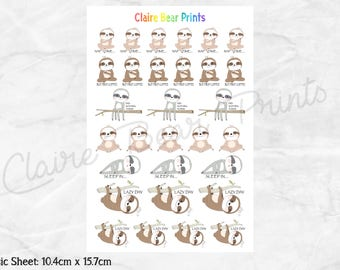 LAZY SLOTH Planner Stickers