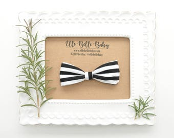 Black & White Striped Bow Tie - Baby Bowtie - Ring Bearer Tie - Wedding Bow tie - Toddler Bow tie - Clip on Bowtie