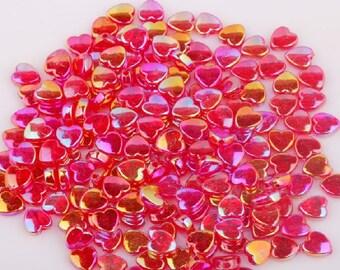 Pink Heart Beads, Acrylic Beads, Heart Beads, Childrens Beads, 9mm Heart Beads, 9mm Beads, Love Beads, Red AB Beads, AB Beads,