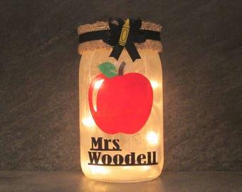 Personalized Teacher Apple Mason Jar Light