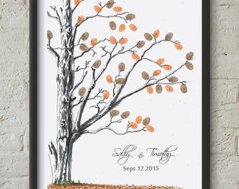 Fall Wedding, Fingerprint tree, Custom fingerprint tree, Custom guestbook, Autumn wedding, Wedding fingerprint tree