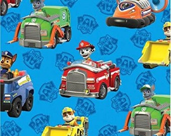 "Paw patrol on blue for Davids textiles - by the half yard - 43-44"" wide, 100% cotton - cartoon fabric - character fabric"