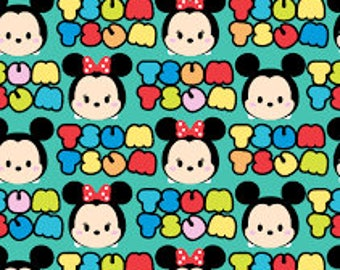 """Tsum Tsum mickey and minnie flannel fabric, 42"""" wide, 100% cotton, by the half yard, licensed fabric, mickey fabric, disney fabric"""