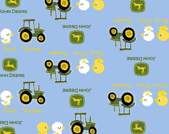"""John Deere Duck, duck, tractor on blue fabric, By the Half Yard, 44"""" wide, cotton"""
