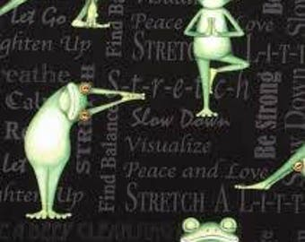 "Yoga Frogs ""back in 5 minutes"", by the half yard, 43-44"" wide, 100% cotton - novelty fabric - animal fabric - yoga fabric"