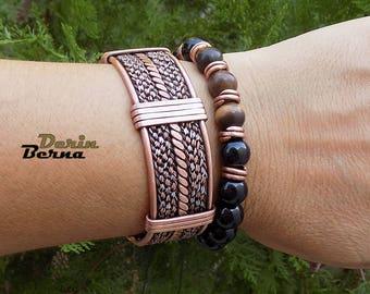 Men set of 2 Bracelets,Braided men Bracelet,Men Bangle Bracelet,Adjustable men copper onyx bracelet,Men accessory,Husband gift,Free shipping