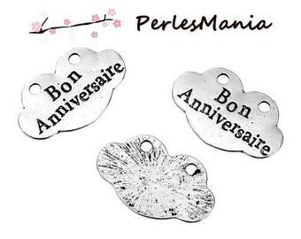 2 pendants MESSAGE on the cloud good birthday silver ANTIQUE (S1184261)