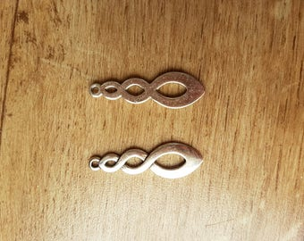set of 4 braided silver charms