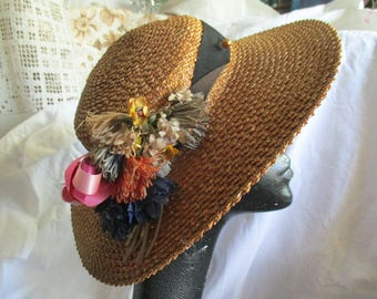 Edwardian wide brimmed straw hat, millinery flowers, 1910's/20's, black band, ecru, super condition, true vintage, hat pins, collectible