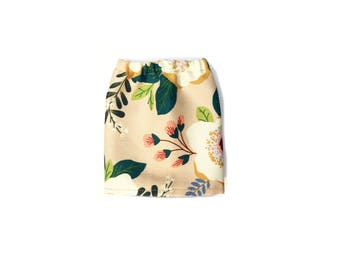 Pencil Skirt, Mini Skirt, Floral, Beige, Green, Pink, White, Fits dolls such as AG, Wellie Wishers, 14 inch Doll Clothes, 14.5