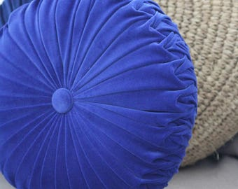 Large Cobalt Blue Velvet Vintage Style Round Cushion
