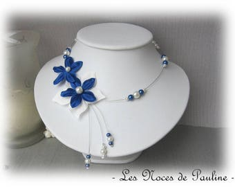Blue and ivory bridal flower satin Julia has