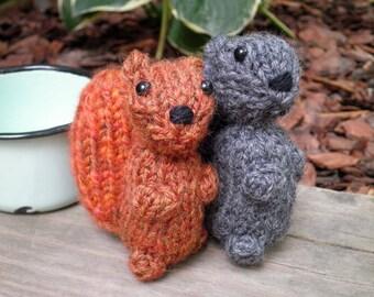 Hand Knit Squirrel - Plush Wool Yarn Woodland Squirrels - Cute Forest Animal Holiday, Housewarming, Birthday, or Kids Stuffed Knitting Gift