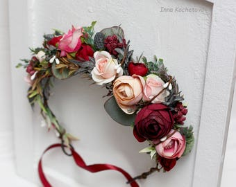 Burgundy blush pink beige eucalyptus flower crown Floral accessories Wedding hair wreath Flower halo Bridal headband Bridesmaid headpiece