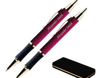Dayspring Pens - Engraved / Personalized Monroe Pen and Pencil Gift Set, Burgundy. Free USA Shipping.