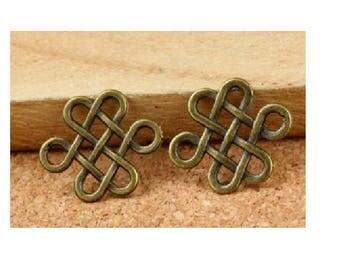 Set of 10 Chinese knots bronze antique 17 mm x 14 mm