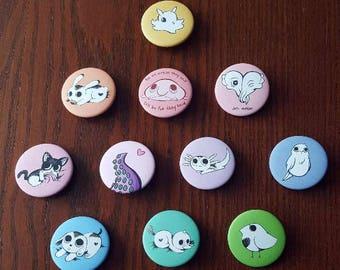 Rainbow Zoo Animal Buttons