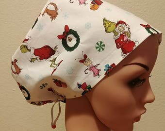 Women's Surgical Cap, Scrub Hat, Chemo Cap, The Grinch