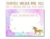 Personalized Unicorn Name Tags Printable PDF