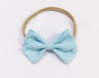 Baby blue classic bow headband