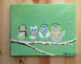"""Snowy Owls 8 x 10"""" painting"""
