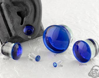 "Single Flare Cobalt Dome Plugs 12g, 8g, 6g, 4g, 2g, 1g, 0g, 9mm, 10mm, 7/16"", 12mm, 9/16"", 5/8"", 18mm, 20mm, 7/8"", 1"""