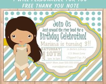 Pocahontas Invitation, Princess Pocahontas Party Invitation, Pocahontas Birthday Party Invitation