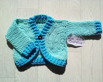 Blue sleeve lifejacket long hand crochet baby