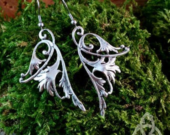 Silver scroll long fairy wings earrings dangling Celtic knot elven medieval pagan Victorian tracery