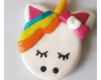 Unicorn in polymer clay magnet