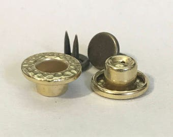 Raw Brass 14mm Button Hammered [Set of 6]