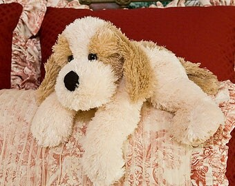Plush Woofie Dog Lying Down On Stomach