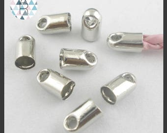 50 silver colored metal cord ends