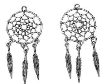 3 pendants dream catcher silver 65 mm