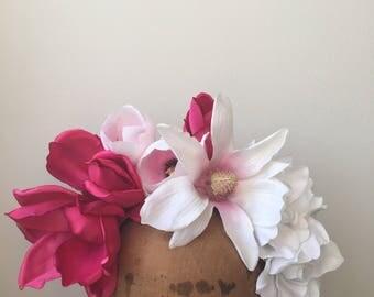 Flower Crown - Fuchsia & White Fascinator